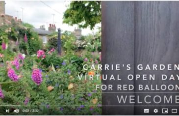 Intro slide to the video of Carrie's garden virtual open day for Red Balloon