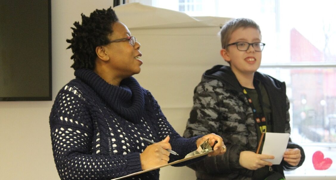 Christina, Head of Centre at Red Balloon Reading, with a student