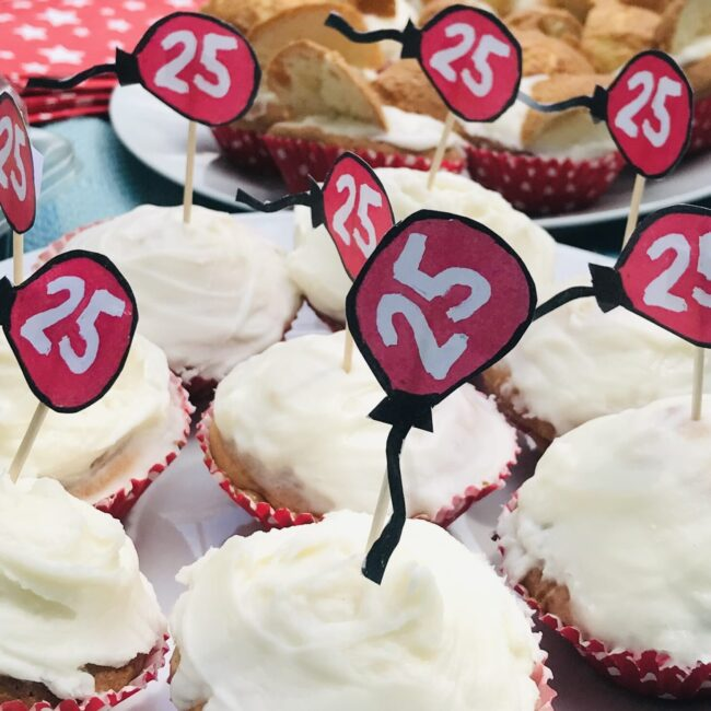25th anniversary cup cakes made by students at Red Balloon of the Air