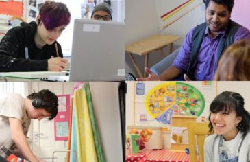 Montage of students and staff at Red Balloon